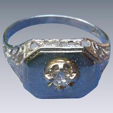10K White Gold Nouveau Ring With Center Diamond