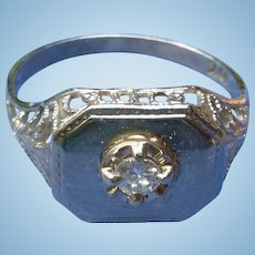 10K White Gold Nouveau Ring With Center Diamond