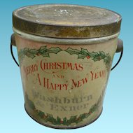 Antique Christmas Candy Pail Advertising Container
