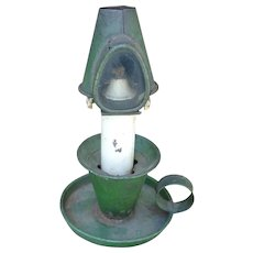 Primitive Antique Tin  Kerosene Lantern In Old Green Paint