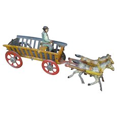 Delightful Horse And Wagon Tin Penny Toy