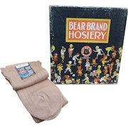 30's Bear Brand Hosiery Store Display Box w/ NOS Socks