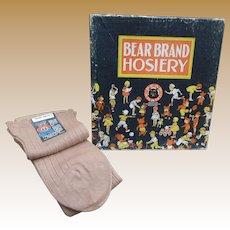 30's Bear Brand Hosiery Store Display Box w/ NOS Socks