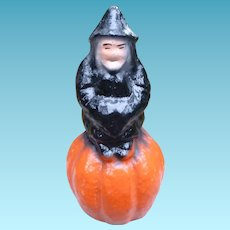 Pulp Halloween Witch On A Pumpkin Candy Container