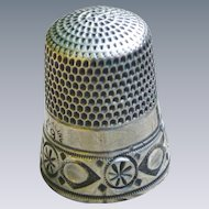 Sterling Silver Thimble W/ Lovely Border No Monogram