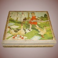 Children's Lithographed Paper Over Wood Picture Puzzle Blocks