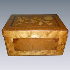 Gorgeous Antique Tiger Maple Inlaid Sewing Box