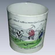 Dr. Franklin's Poor Richard Illustrated Staffordshire Transfer Child's Cup Polychrome