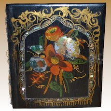 Gorgeous Paper Mache  Daguerreotype Case With Mother Of Pearl Inlay