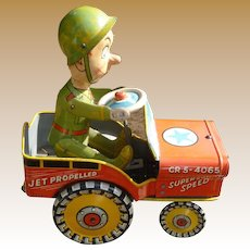 Unique Art G I Joe And His Jouncing Jeep Wind Up Tin Toy