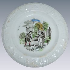 Precious 19th Century Staffordshire Child's ABC Plate - Polychrome Transfer