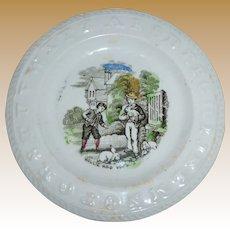 Precious 19th Century Staffordshire Child's ABC Plate - Polychrome Transfer