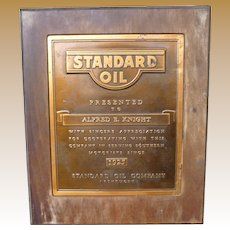 1925 Standard Oil Copper Plaque In Wooden Frame