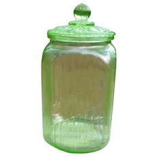Vaseline Glass Lidded Hoosier Jar