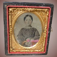 Sweet Tinted Tintype Of Young Girl With Lock Of Hair