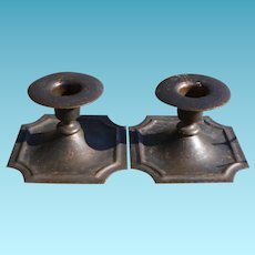Pair Roycroft Arts And Crafts Hammered Copper Candlesticks