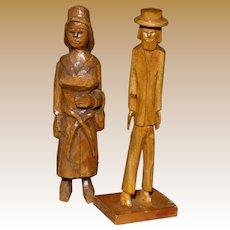 Folk Art Carved Wood Man And Woman Statues
