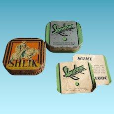 Vintage Condom Tin With Original Paper Advertising