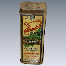 Ferndell Allspice Tall Vintage Spice Tin Chicago IL.