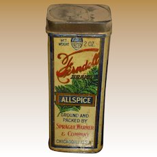 Ferndell Allspice Tall Vintage Spice Tin Chicago IL.