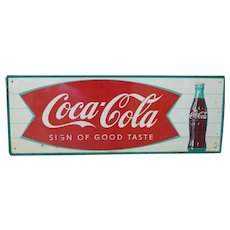 Coca Cola Fishtail Tin Advertising Sign