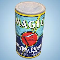 Vintage Unopened Magic Shaving Powder Advertising Tin  With Original Paper Label And Contents