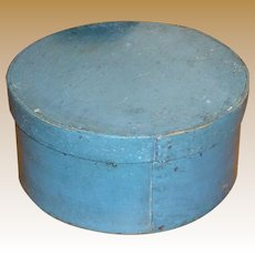 Antique Pantry Box In Original Blue Paint