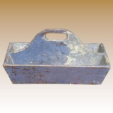 Primitive Cutlery Box In Old Blue Paint
