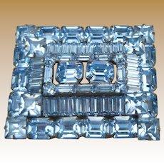 Weiss Pale Blue Rhinestone Pin