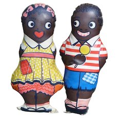 Aunt Jemima Children Diana And Wade Oilcloth Dolls