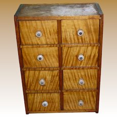 Primitive Tiger Maple Spice Apothecary Chest