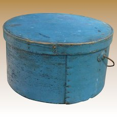 Early Primitive Bail Handle Pantry Box In Blue Paint
