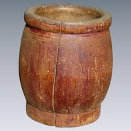 Primitive Antique Mortar In Old Red Paint
