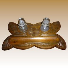 Folk Art Carved Wooden Ink Well With Blown Glass Bottles
