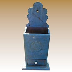Folk Art Wall Box In Blue Paint