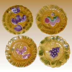 French Sarreguemines 7 1/2 Inch Majolica Fruit Plates - Set of 4