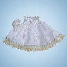 Handmade And Hand Embroidered Doll Dress And Bonnet