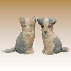Sweet Printed Fabric Stuffed Dog And Cat