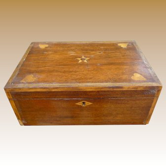 Antique Pennsylvania Dutch Inlaid Wood Document Box