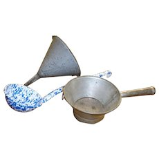 Graniteware Funnel Signed Tin Strainer Blue And White Enamelware Ladle
