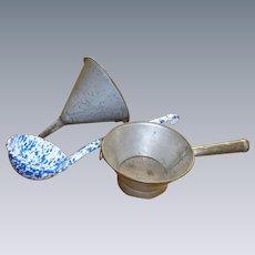 Graniteware Funnel Signed Tin Strainer Blue And White Enamelware Ladle