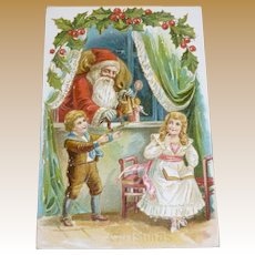 Early Santa, Children, And Toys Christmas Postcard