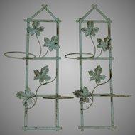 Wonderful Vintage Metal Flower Pot Holders In Original Paint