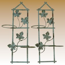 Wonderful Vintage Metal Flower Pot Holders In Original Paint