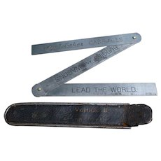 19th Century Studebaker Carriages Buggies Wagons Folding Ruler In Leather Case