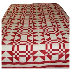 Hand Sewn Red And White Quilt - Beautiful!