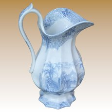 Stately Blue And White Transfer Ware Pitcher
