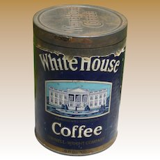 White House Coffee Tin Can With Paper Label