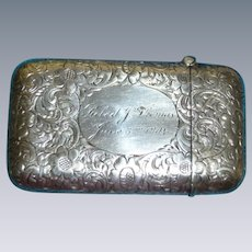 Gorgeous Beautifully Etched Nouveau Sterling Match Safe Dated 1904