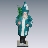 German Santa In Blue/Green Coat Candy Container